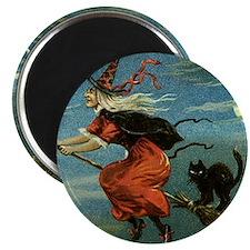 Vintage Halloween Witch sq Magnet