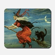 Vintage Halloween Witch sq Mousepad