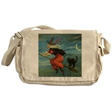 Vintage Halloween Witch sq Messenger Bag