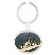 uss samuel n. moore rectangle magnet Oval Keychain