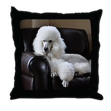 White standard poodle  Throw Pillow