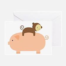Baby Monkey Riding Backwards on a Pi Greeting Card