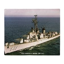 uss samuel n. .moore framed panel pr Throw Blanket