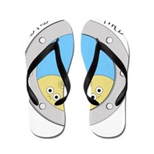 Porthole Twins With Black Text Blue Bac Flip Flops