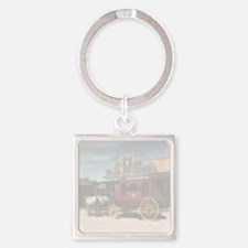 old west stagecoach Square Keychain