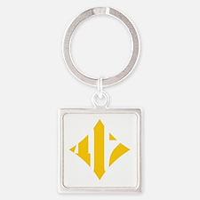 412 White/Gold-W Square Keychain
