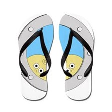 Porthole Twins With White Text Blue Bac Flip Flops
