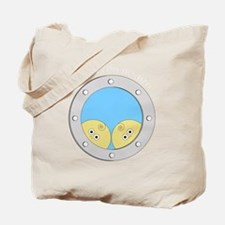 Porthole Twins With White Text Blue Backg Tote Bag