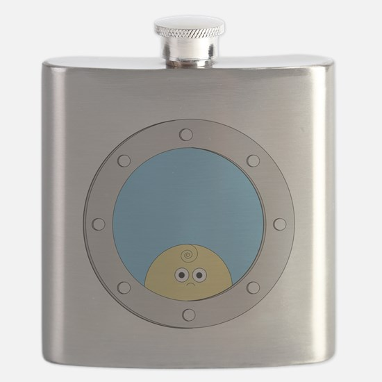 Porthole Baby With White Text Blue Backgroun Flask