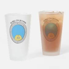 Porthole Baby With Black Text Blue  Drinking Glass