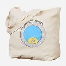 Porthole Baby With Black Text Blue Backgr Tote Bag