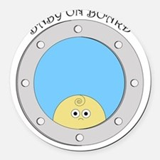 Porthole Baby With Black Text Blu Round Car Magnet