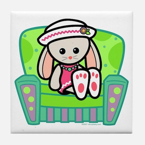 Little Bunny Girl Tile Coaster
