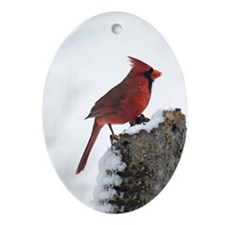 Cardinal On Stump Ornament (Oval)