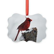 Cardinal on stump Ornament
