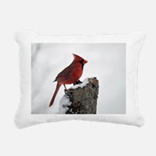 Cardinal on stump Rectangular Canvas Pillow