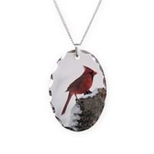 Cardinal On Stump Necklace