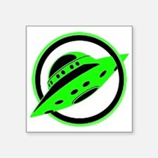 "UFO In Flight Square Sticker 3"" x 3"""