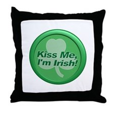 Kiss Me I'm Irish - Shamrock Throw Pillow