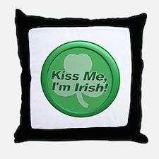 Kiss Me I'm Irish - Shamrock Throw Pillow