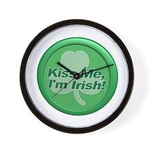 Kiss Me I'm Irish - Shamrock Wall Clock