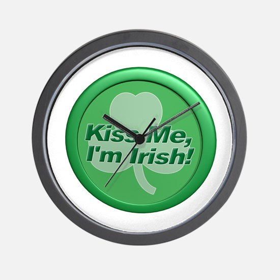 Kiss Me I'm Irish - Shamrock Wall Clock