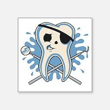 "dentist-pirate-T Square Sticker 3"" x 3"""