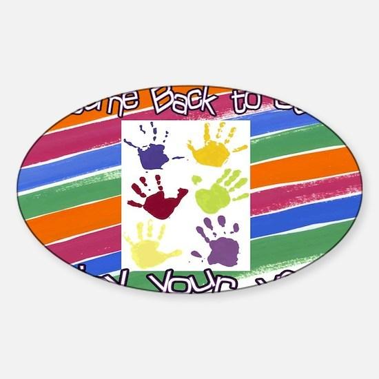 Back to School Handprints Sticker (Oval)