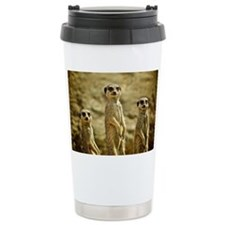 Three Meerkats standing Travel Mug