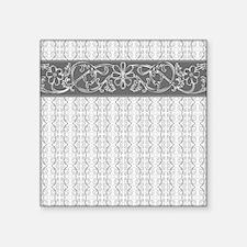 "Pretty Gray Flowers Square Sticker 3"" x 3"""