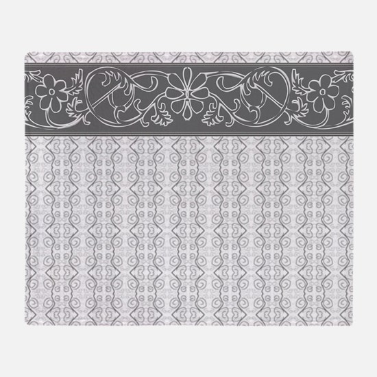 Pretty Gray Flowers Throw Blanket