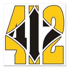 "412 Gold/Black-W Square Car Magnet 3"" x 3"""
