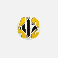 412 Gold/Black-W Mini Button