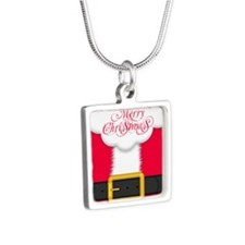 Merry Christmas Queen Duve Silver Square Necklace