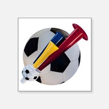 "Football and horn Square Sticker 3"" x 3"""