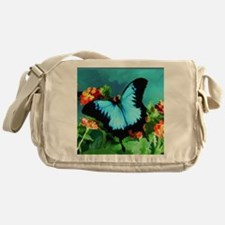 Blue Butterfly on Orange Lantana Flo Messenger Bag