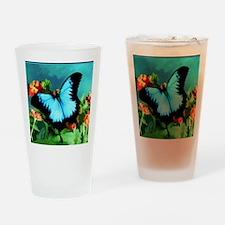 Blue Butterfly on Orange Lantana Fl Drinking Glass