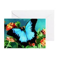 Blue Butterfly on Orange Lantana Flo Greeting Card