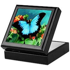 Blue Butterfly on Orange Lantana Flow Keepsake Box