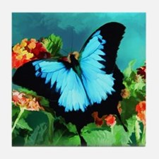 Blue Butterfly on Orange Lantana Flow Tile Coaster