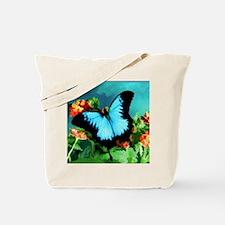 Blue Butterfly on Orange Lantana Flowers  Tote Bag