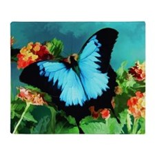 Blue Butterfly on Orange Lantana Flo Throw Blanket