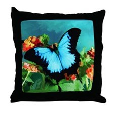 Blue Butterfly on Orange Lantana Flow Throw Pillow