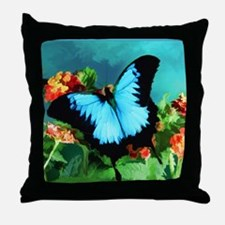 Blue Butterfly on Orange Lantana Flow Throw Pillow
