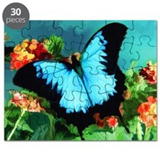 Blue Butterfly on Orange Lantana Flowers Pa Puzzle