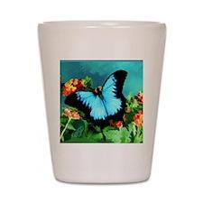 Blue Butterfly on Orange Lantana Flower Shot Glass