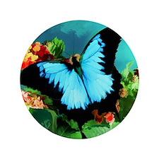 """Blue Butterfly on Orange Lantana Flowe 3.5"""" Button"""