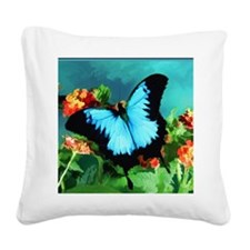 Blue Butterfly on Orange Lant Square Canvas Pillow
