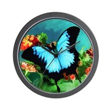 Blue Butterfly on Orange Lantana Flower Wall Clock