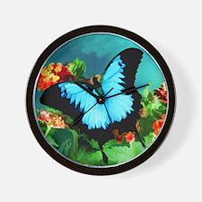 Blue Butterfly on Orange Lantana Flower Wall Clock